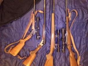 golyós puskák, sörétes puska, távcsövek, fegyvertokok, tisztító felszerelés, lőszer