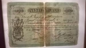 Vadászati Jegy 1896