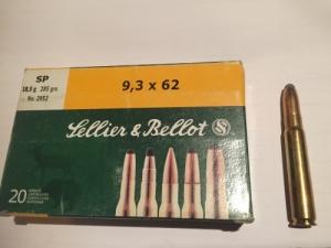 Sellier&Bellot 9-3x62 golyós lőszer 18,5 g-os Sp maggal szerelve.